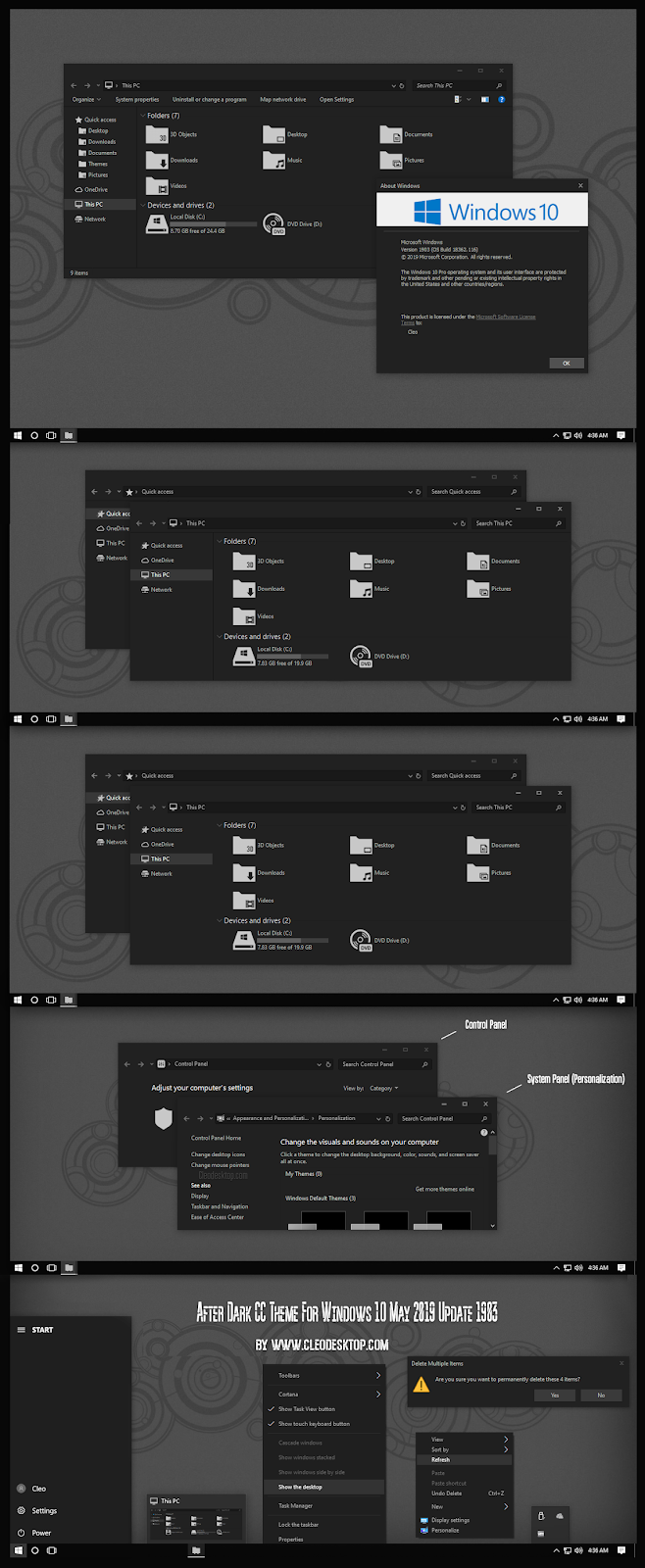 After Dark CC Theme For Windows 10 May 2019 Update 1903