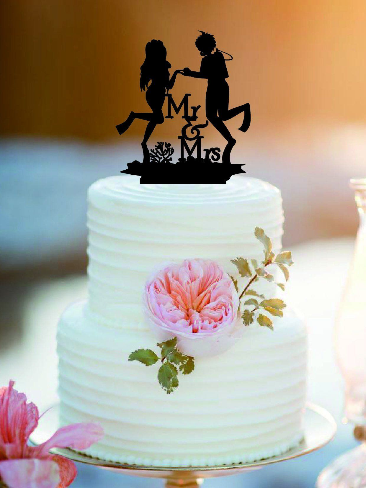 Customized Diving Wedding Cake Topper Mr And Mrs Scuba ABOUT THE CAKE TOPPER Material Acrylic Or Wood Size