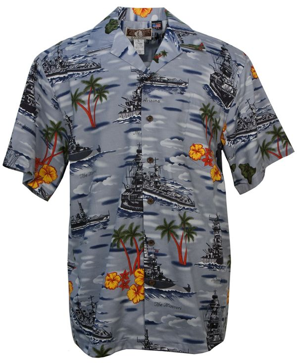 2861f71a US Battleships Mens Hawaiian Aloha Shirt in Blue in 2019 | Mens ...
