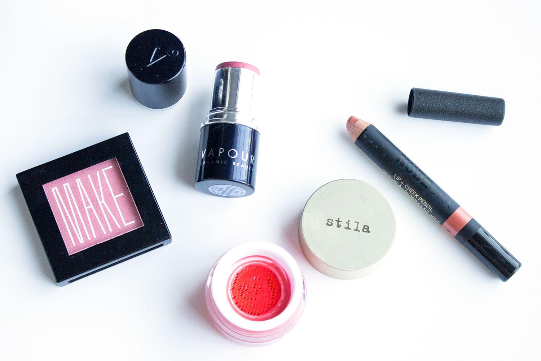 Best Blushes of 2015: Make Satin Finish Powder Blush in Geisha, Vapour Organic Beauty Aura Multi-Use Color Stick in Courtezan, Stila Aqua Glow Watercolor Blush in Water Poppy, Nudestix Lip + Cheek Pencil in Ripe