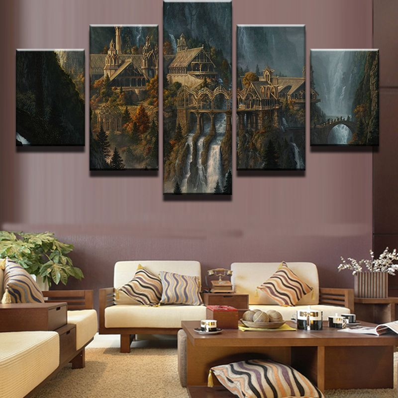 Framed 5 Piece Canvas Art Lord Of The