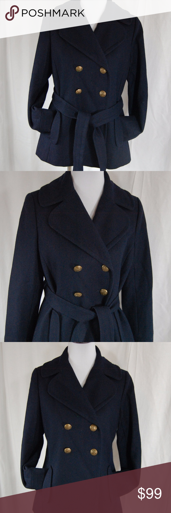 J Crew Double Breasted Pea Coat This navy J. Crew double