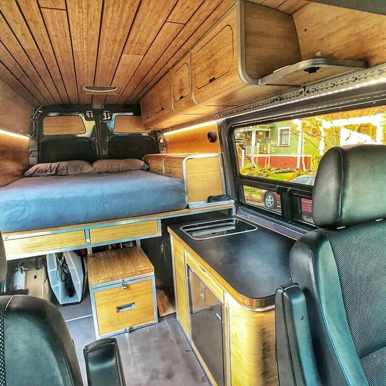 Cool Wood And Metal Functional Van Layout I Love The Design Of This Camper