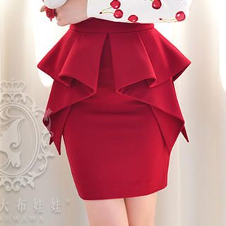 Ruffle Peplum Pencil Skirt from #YesStyle | skirts my love ...