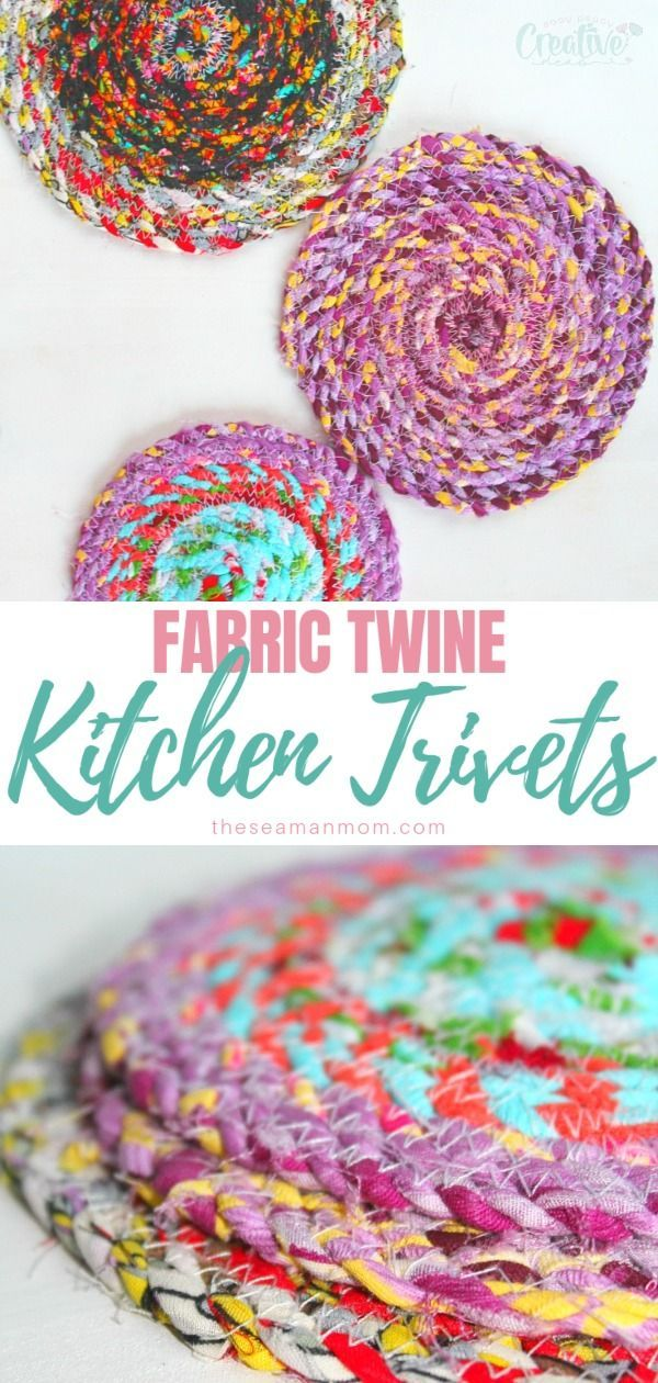 Fabric Trivets, Fun Fabric Scraps Project With Fabric Twine
