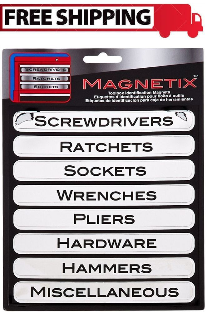 Magnetic Tool Box Labels Chest Storage Organizer Garage Sort Tools Label 8 Piece Tool Box Magnetic Tools Vinyl Labels