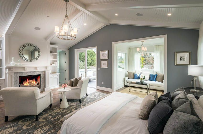 Master Bedroom With Gray Color Paint Fireplace And Cathedral Ceiling Luxury Bedroom Master Dream Master Bedroom Best Bedroom Colors
