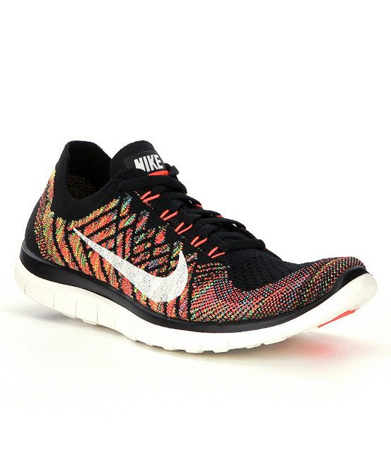 bb4aad7c0d3eb Black Hyper Orange University Blue Sail Nike Free 4.0 Flyknit Running Shoes