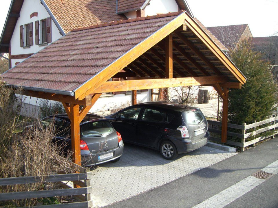 Abri 2 pans 2 voitures 5 poteaux Carport Pinterest - Montage D Un Garage En Bois