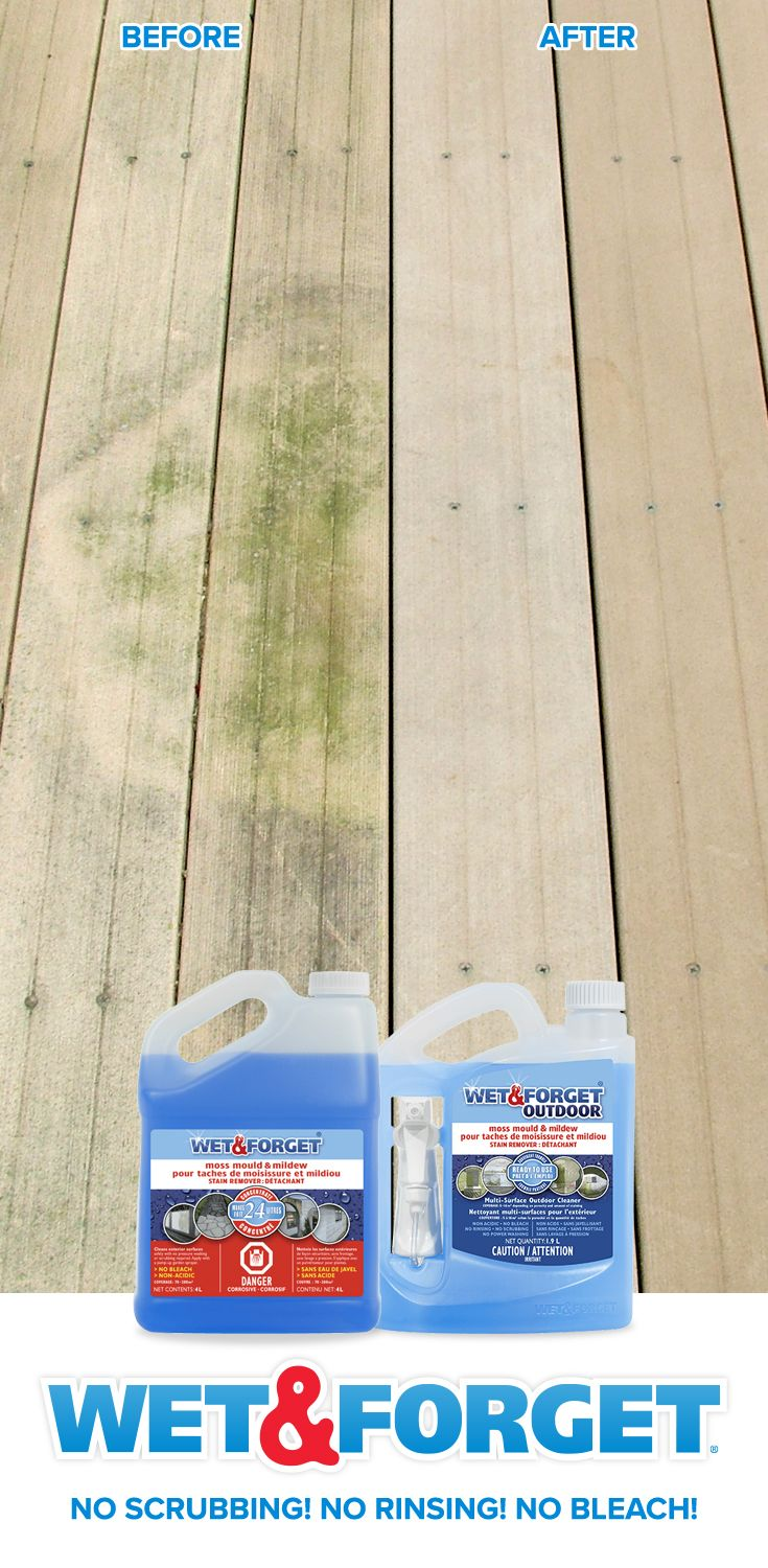 Green And Black Stains On Your Deck Patio Brick Roof Or Siding Spray Wet Forget And Let The Wind An With Images Outdoor Cleaning Deck Cleaner Diy Cleaning Products