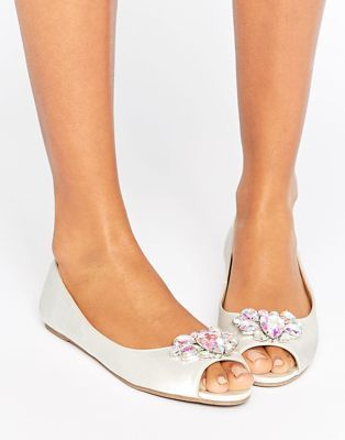 1698b2b9656 ASOS LADYBUG Bridal Embellished Peep Toe Ballet Flats