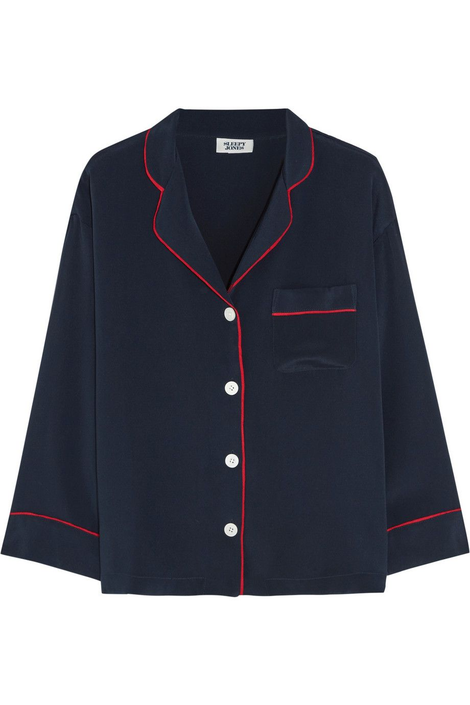 Big Sale For Sale Buy Cheap 100% Original Sleepy Jones Woman Printed Silk-satin Pajama Top Navy Size L Sleepy Jones 1gsdwSnTy