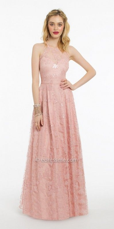 Sweet and delicate, the All Over Sequin Lace Up Back Prom Dress by ...