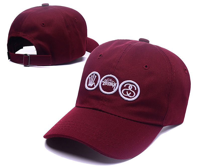 7dc4460e17c Men s   Women s Stussy Crown Stock and SS Link Logo Signature Baseball  Adjustable Dad Hat - Burgundy
