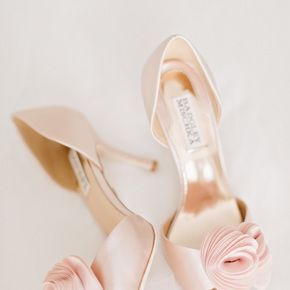 Blush Pink Bridal Heels With Floral Applique