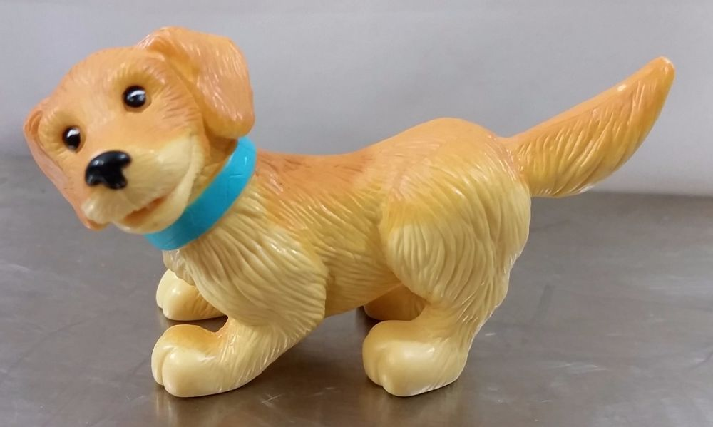 Dollhouse Pet Dog Animal Detailed Golden Retriever Blue Collar Figure #PetsAnimals