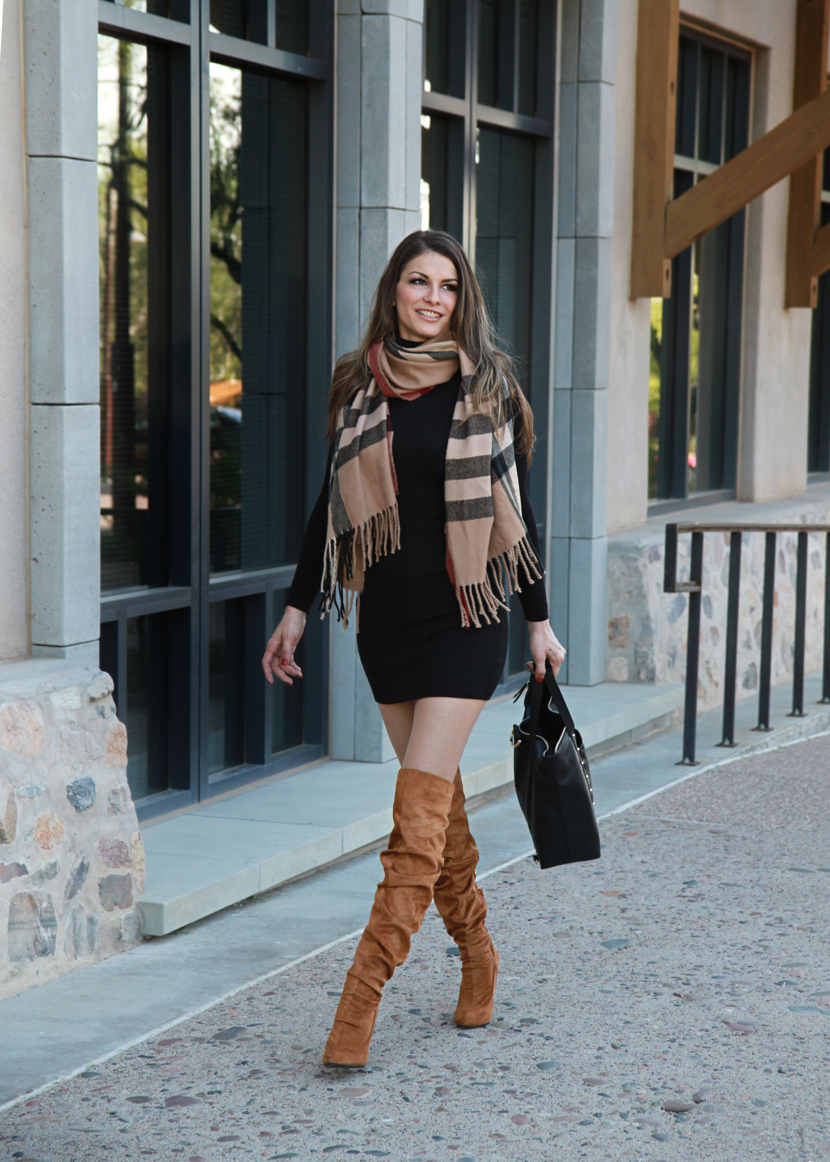 Fall Outfit 2019 Brown Knee High Boots Outfit Black Boots Outfit Fall Boots Outfit [ 4633 x 3309 Pixel ]
