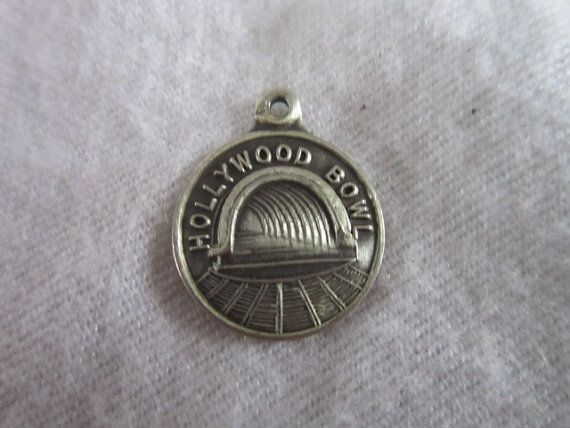 5/8 Diameter Marked: Sterling Antique 1940s Old California Travel Charm Sterling Silver Hollywood Bowl Great - Wonderful travel charm