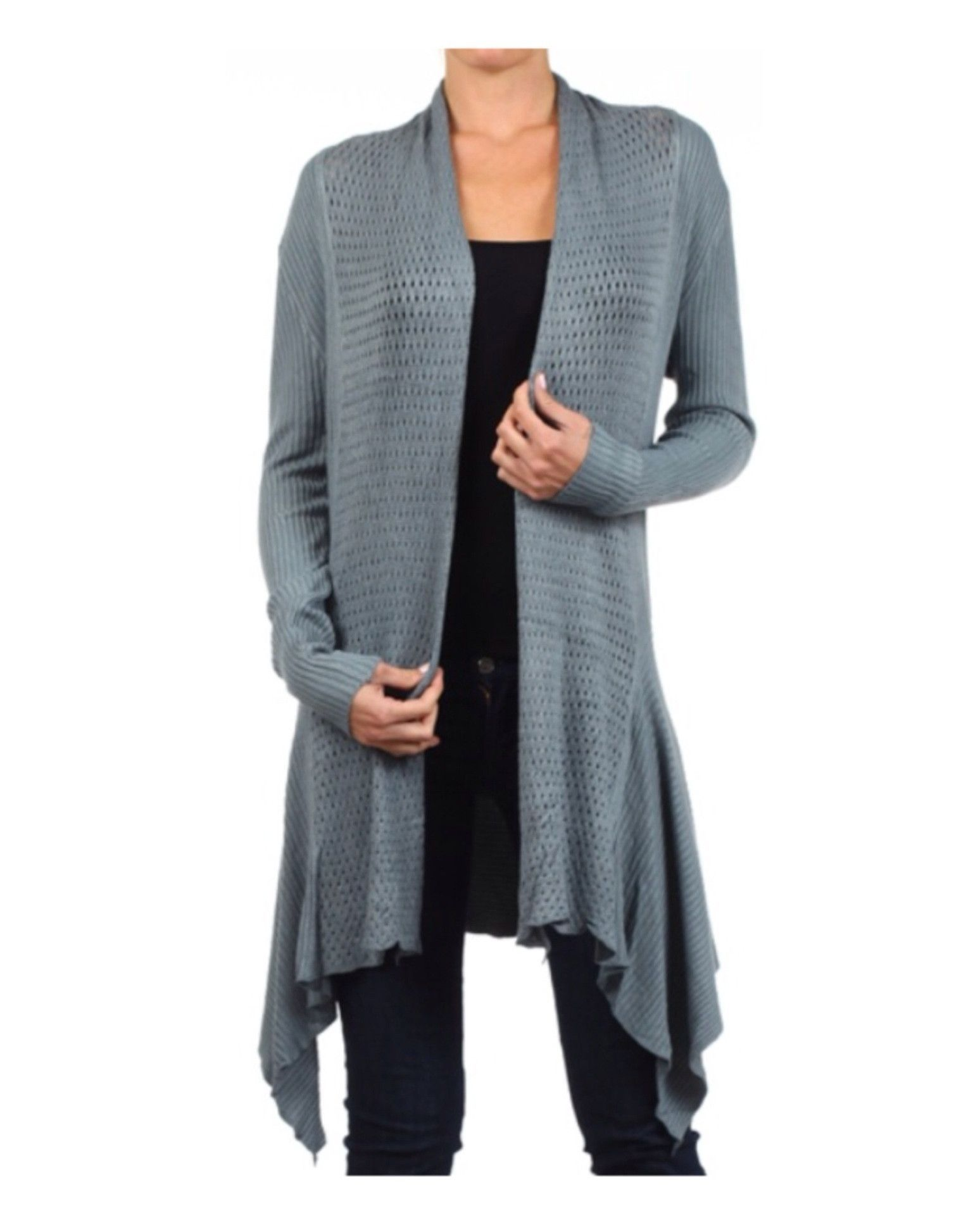 In Style Crochet Knit Long Grey Cardigan | Products | Pinterest ...