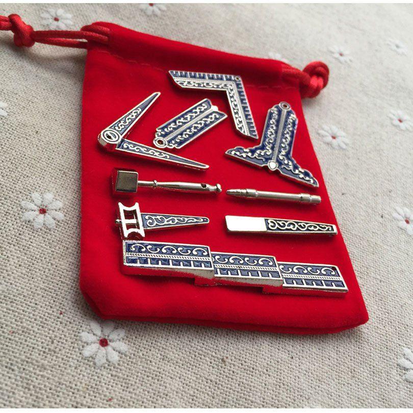 Set Of 9 Miniature Masonic Working Tools With Nickel