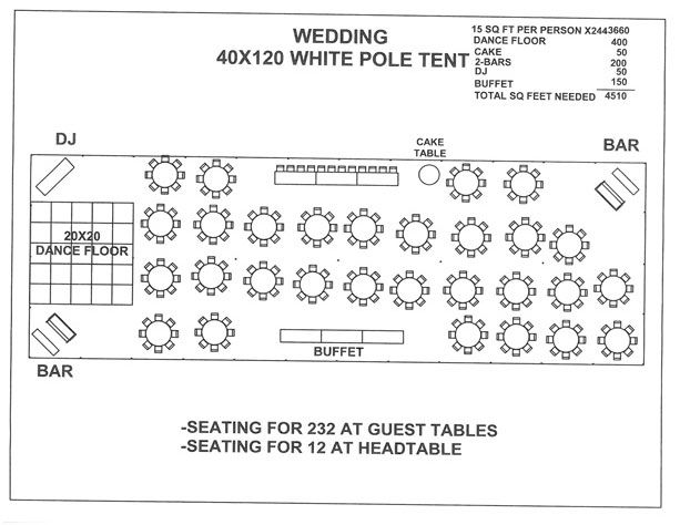 Wedding 40x120 white pole tent a love for Wedding tent layout design