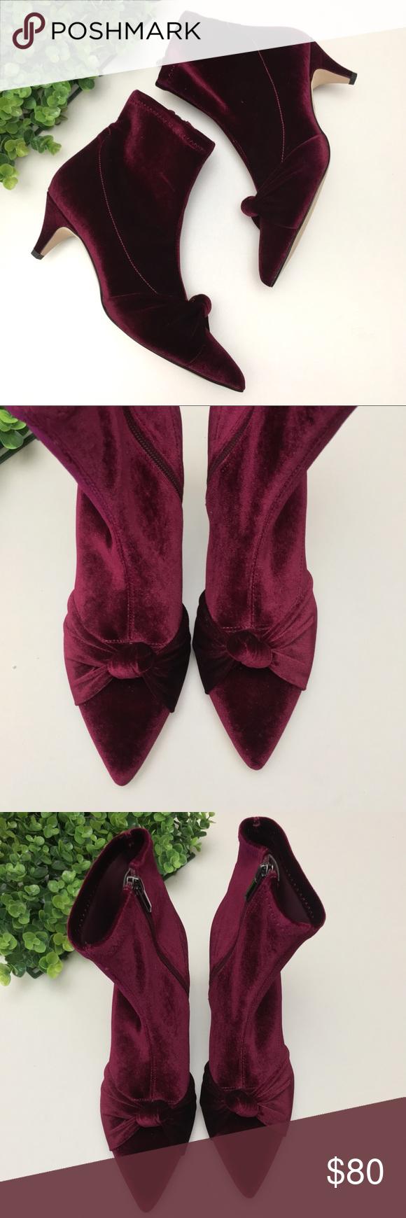 b7d0dff20 Sam Edelman Keena Velvet Knot Ankle Boots Wine Sam Edelman Womens Keena Knot  Velvet Ankle Booties