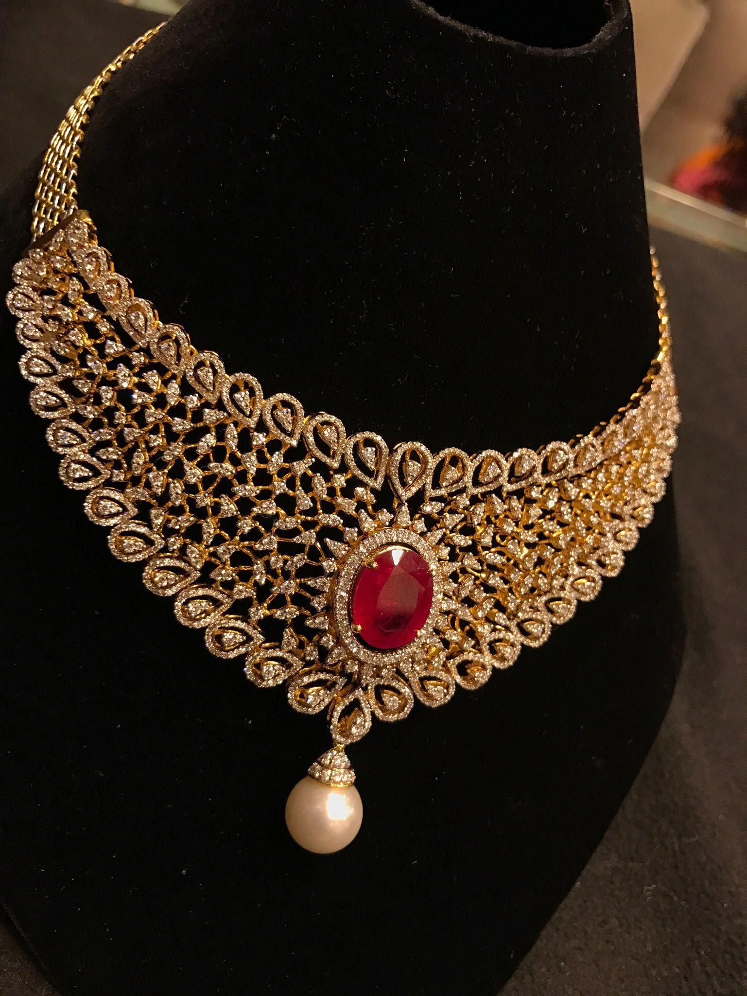 ruby bridal necklace bridaljewellery Gold jewelry