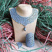 Украшения ручной работы. Ярмарка Мастеров - ручная работа Колье и браслет из кожи Голубое кружево. Handmade.
