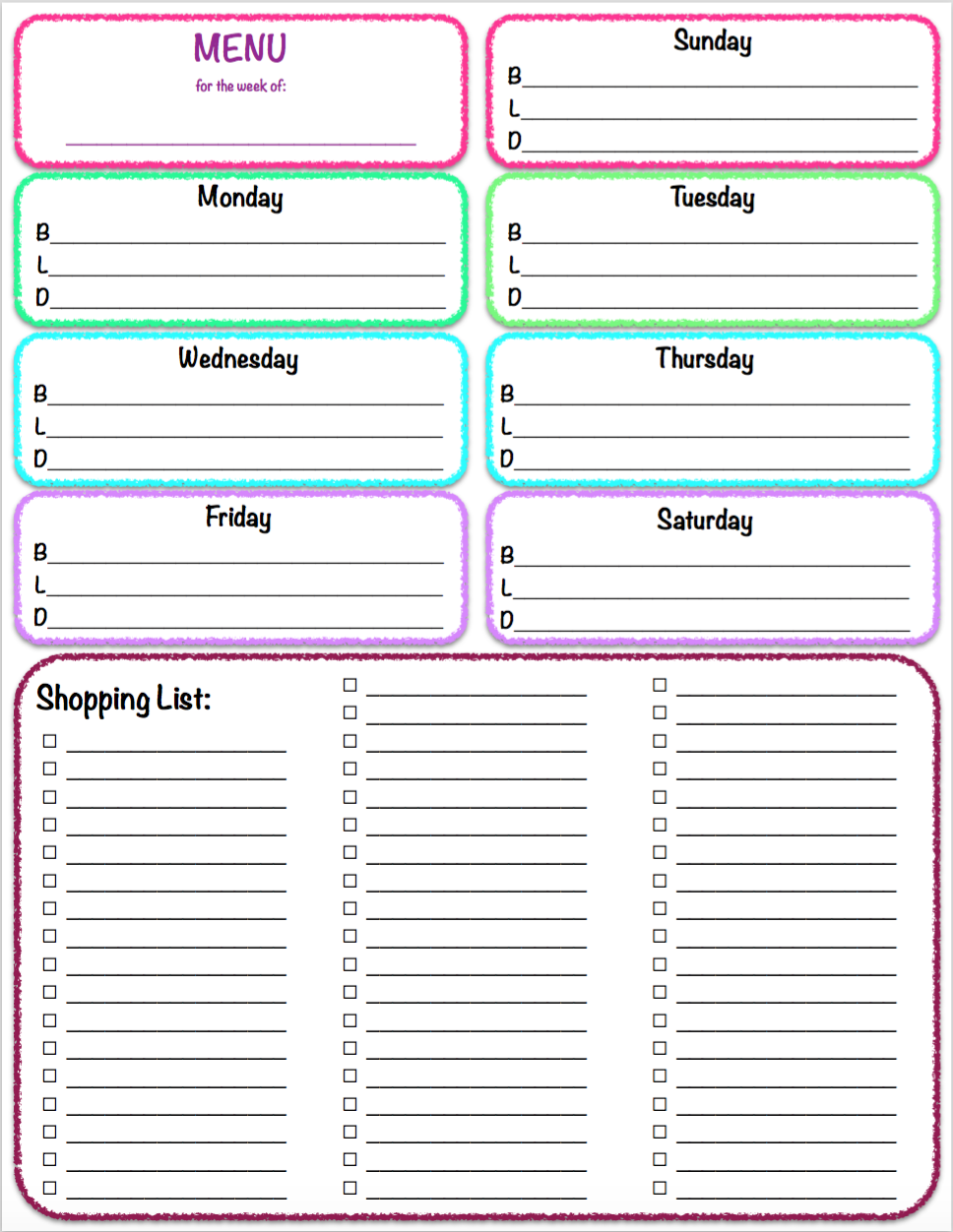 free printables weekly meal planner grocery list the housewife modern