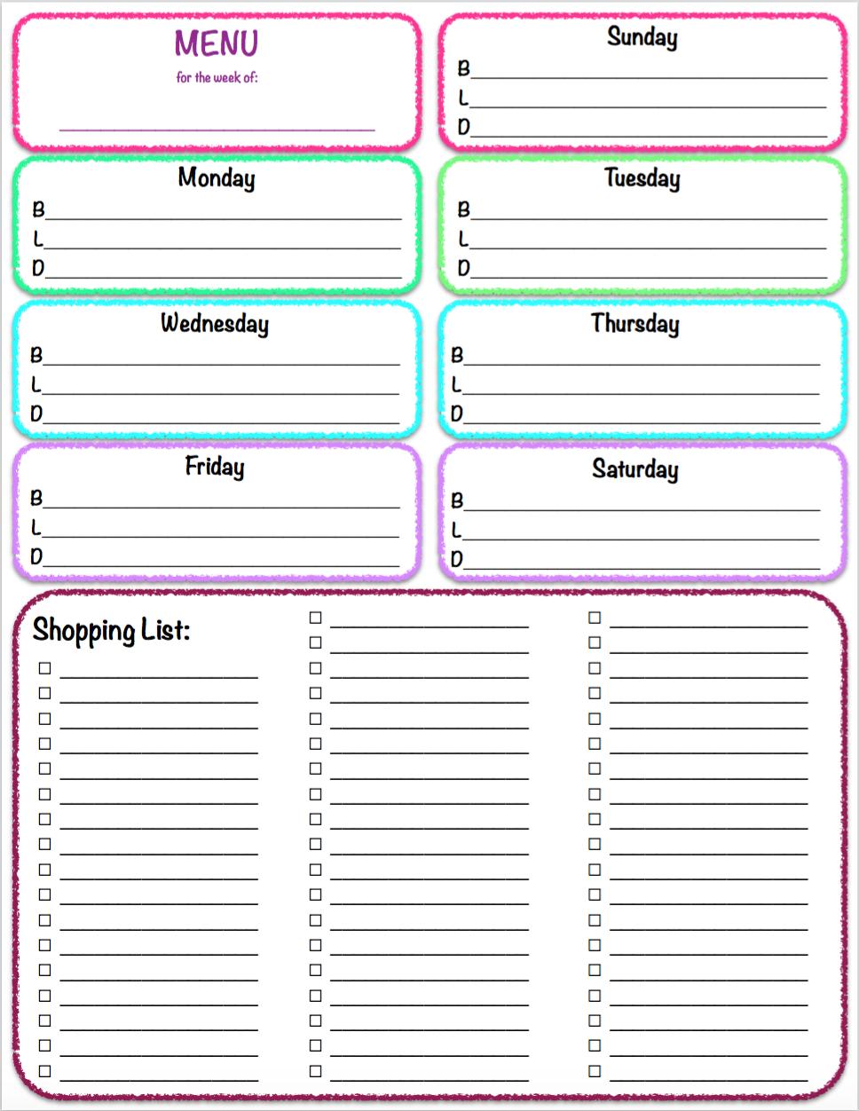 Menu & Grocery Printables Weekly meal planner, Meal