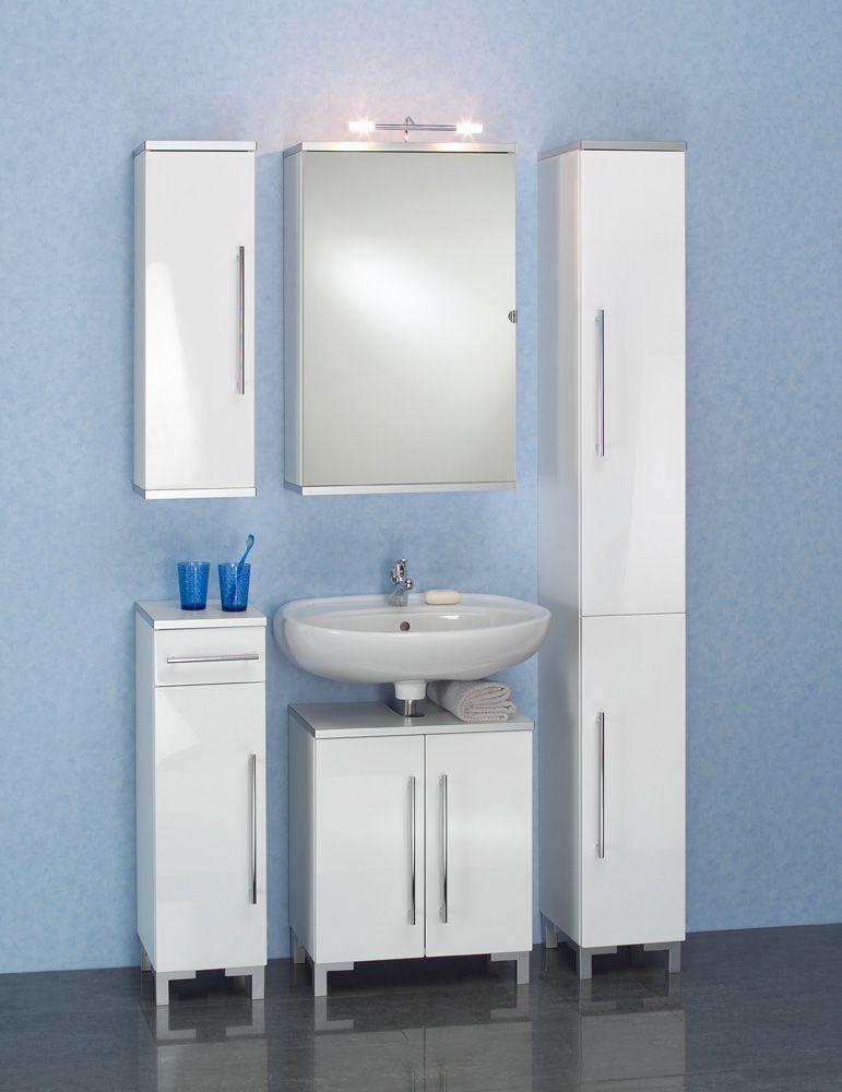 Bad-Kombination mit Spiegelschrank Weiß (5-teilig) Jetzt bestellen
