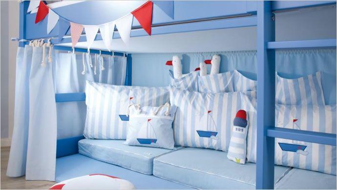 Etagenbett Vorhang Blau : Vorhang für seiten stoff hochbett spielbett etagenbett blau
