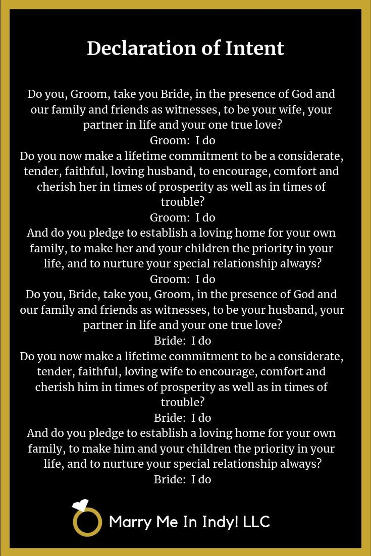Declaration of Intent and Wedding Vows for your wedding