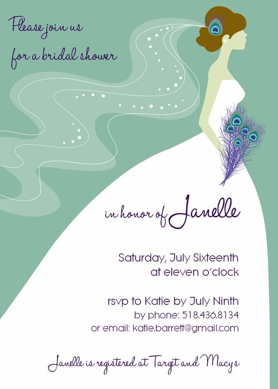 Peacock Bridal Shower Invitation by PeacockPrinting on Etsy, $3.00