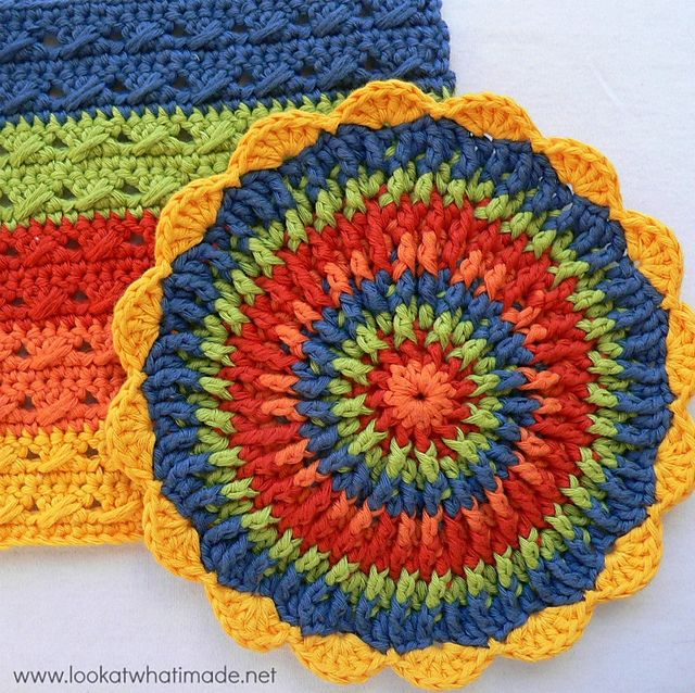 crochet post stitch dishcloth free pattern | Dishcloths | Pinterest ...