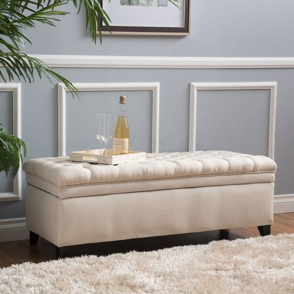 Christopher Knight Home Hastings Tufted Fabric Storage Ottoman Bench ...
