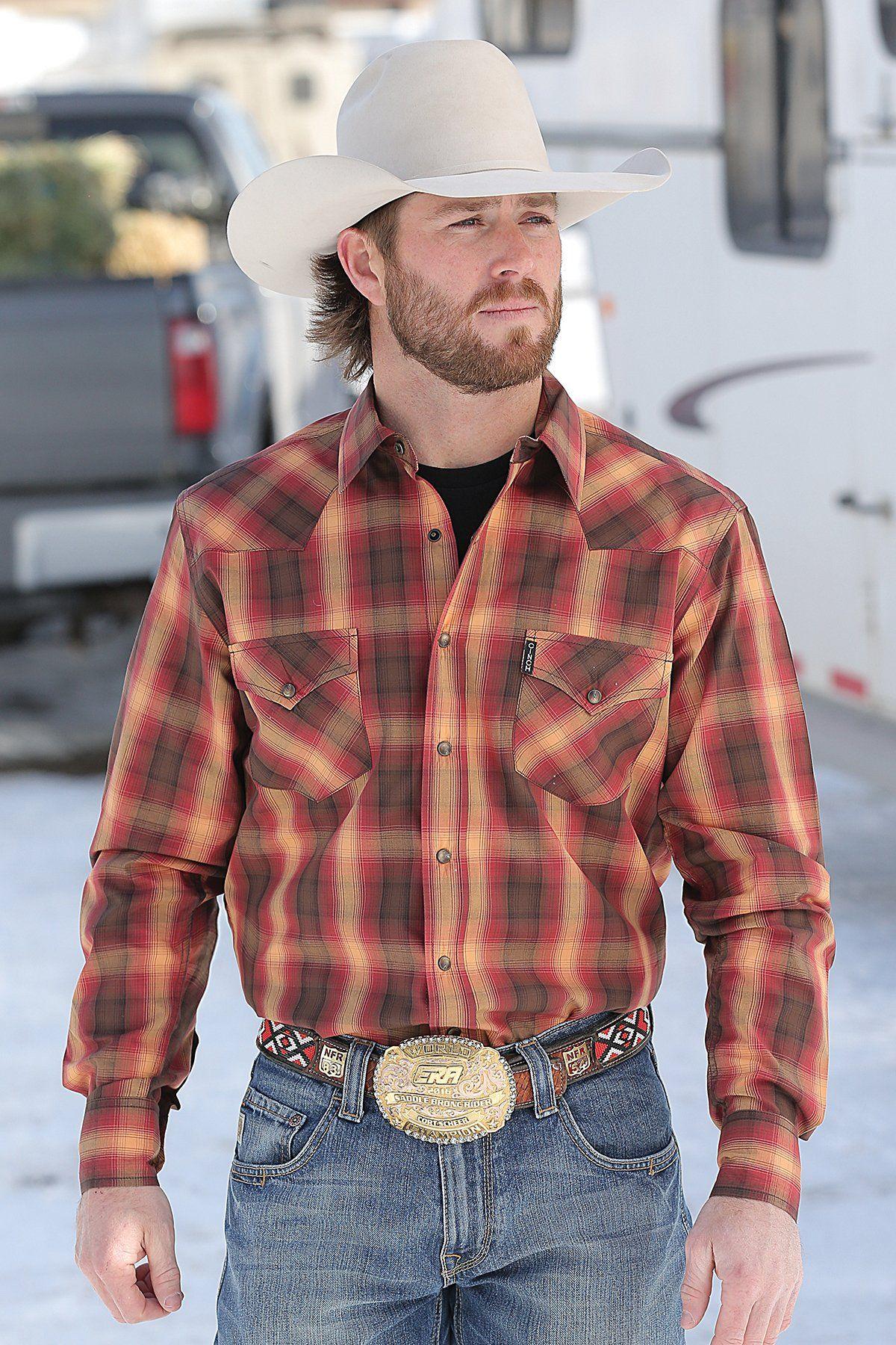 bca78f8a Cinch Men's Brown Red & Orange Plaid Modern Fit Snap Up Western Shirt  MTW1303018