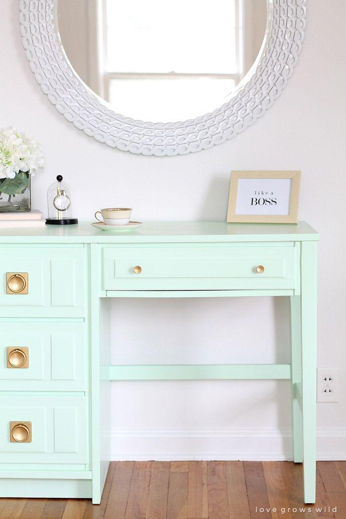 Mint Desk Makeover Desk Makeover Repurposed Furniture Home