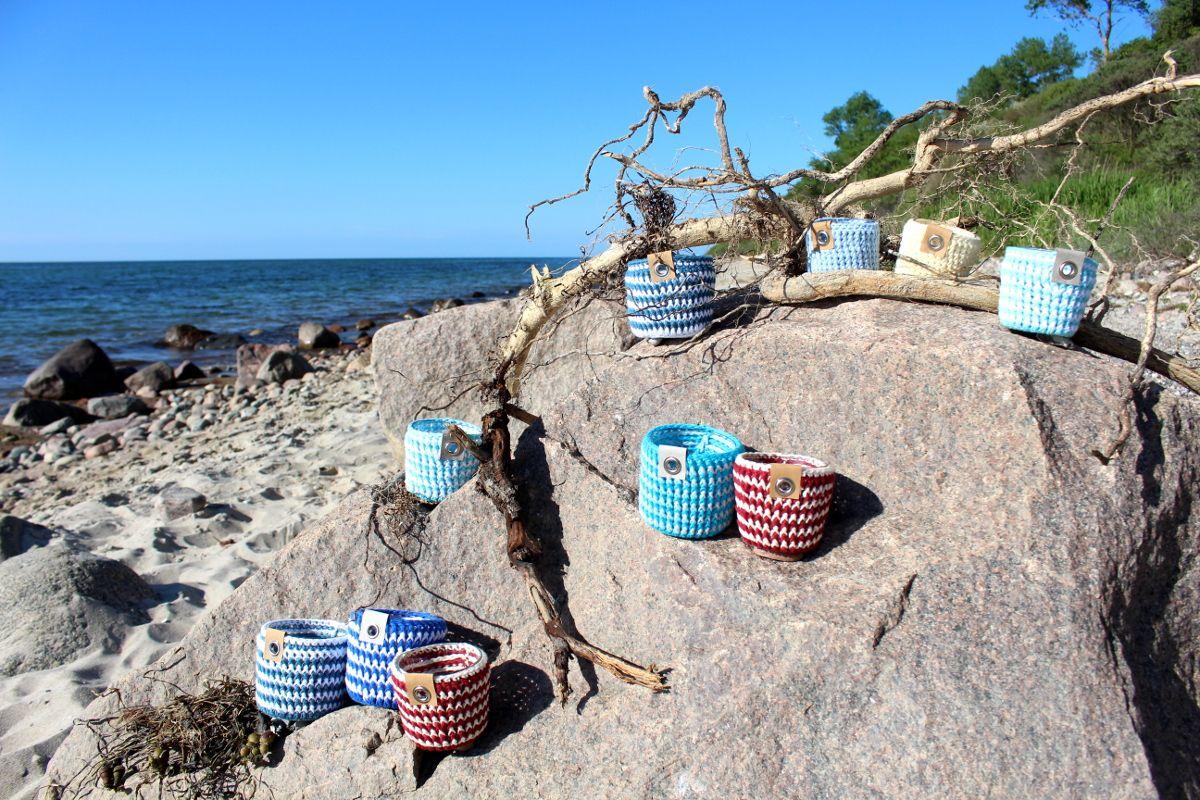 Teelichter von Ikea neu dekoriert, lifehack, maritimes Häkelmuster ...
