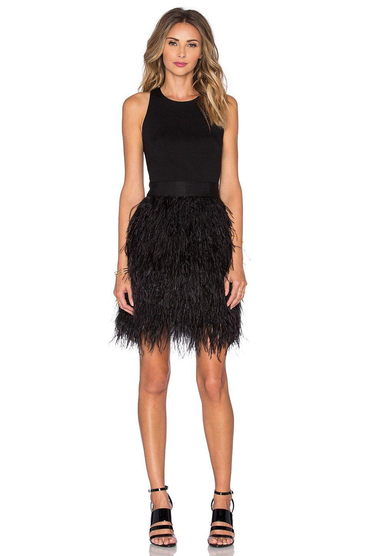 MILLY Blair Feather Dress en Negro | REVOLVE | fashion | Pinterest ...
