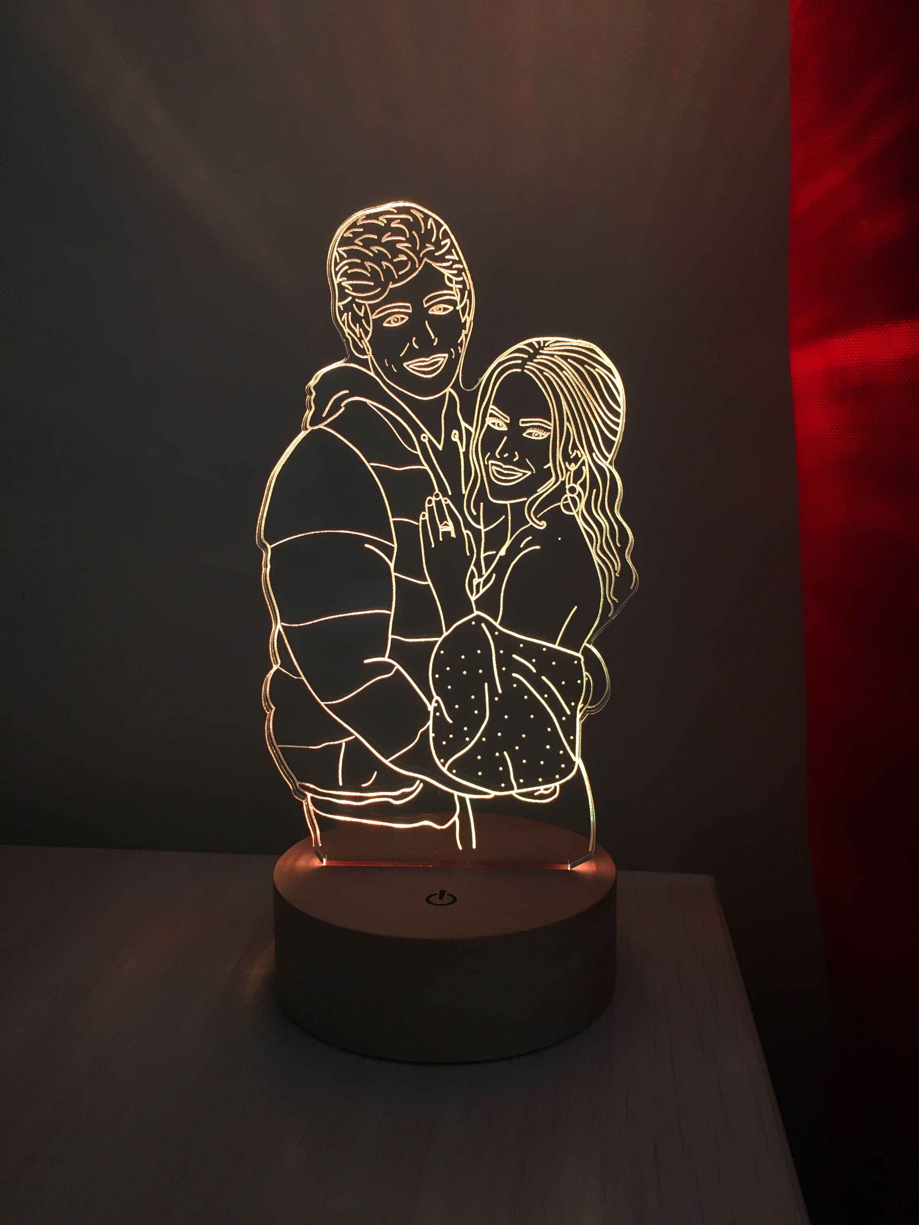 Custom Led Lamp Drawing From Photo Couple Light Nightlight Etsy In 2020 Personalized Photo Gifts Photo Lamp Gifts