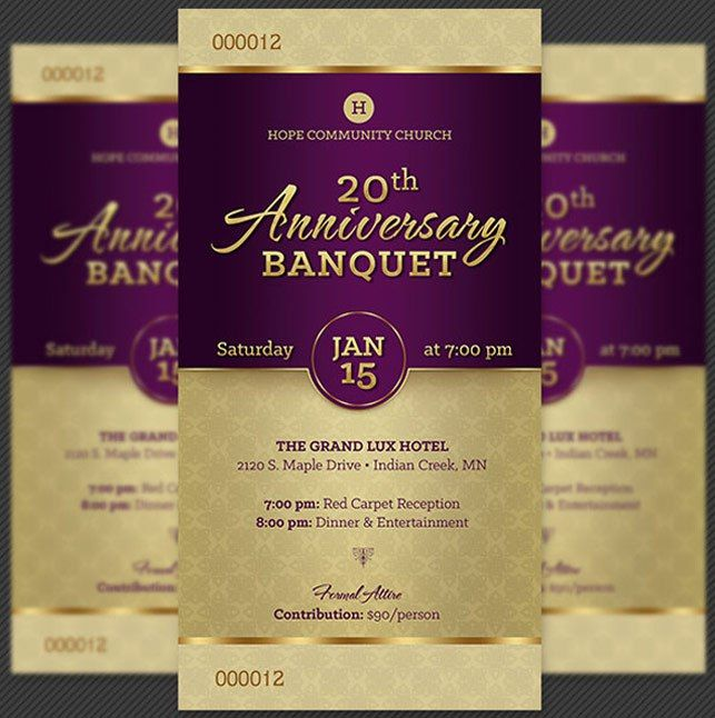 Perfect Church Anniversary Banquet Ticket Template | Inspiks Market To Dinner Tickets Template