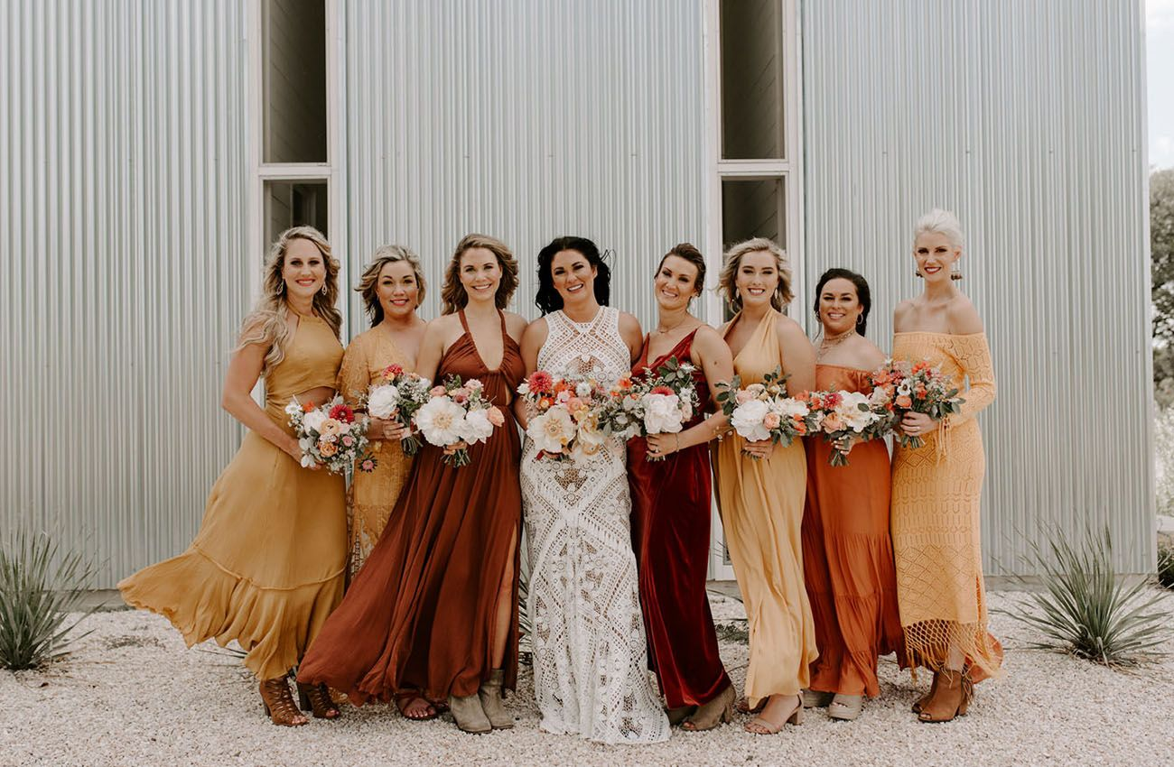 Be Still Our Bohemian Hearts It S An Ombre Filled Coachella Inspired Festival Wedding Green Wedding Shoes Orange Bridesmaid Dresses Rust Bridesmaid Dress Sunset Wedding Colors [ 850 x 1300 Pixel ]