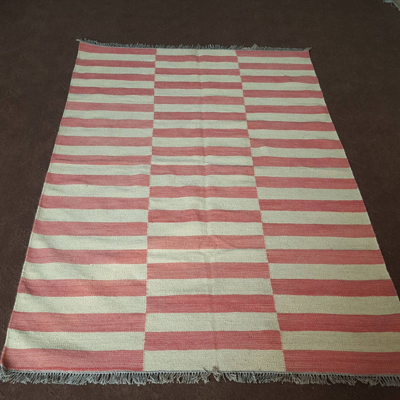 Made To Order Pink And Off White Ivory Striped Kilim Dhurrie