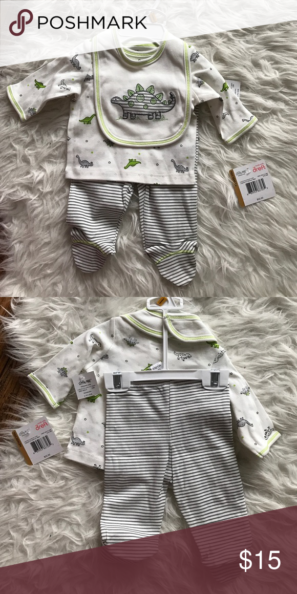 Baby clothes Little Me Lap shoulder set with bib. Grey Multi color. Brand new with tag. little me  Matching Sets