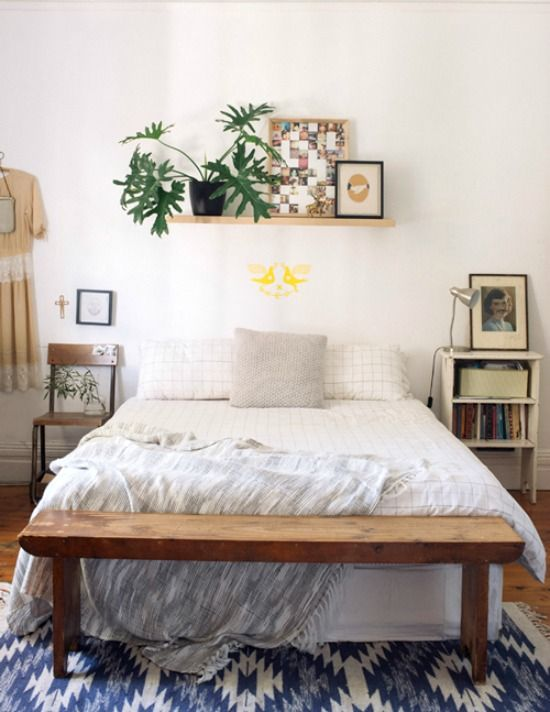 Nice Shelf Above Bed With Plant; Bench At The Foot Of The Bed
