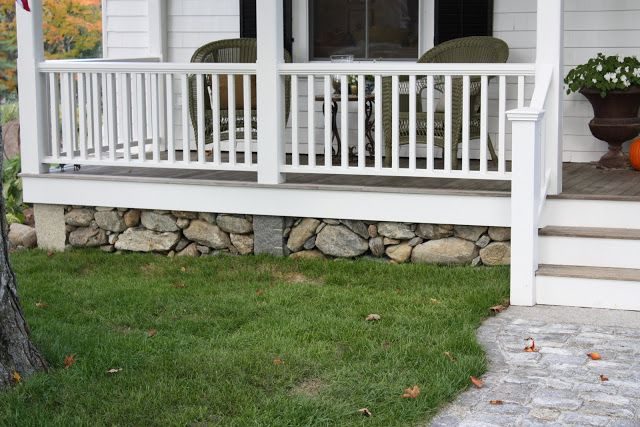 fieldstone skirt under porch
