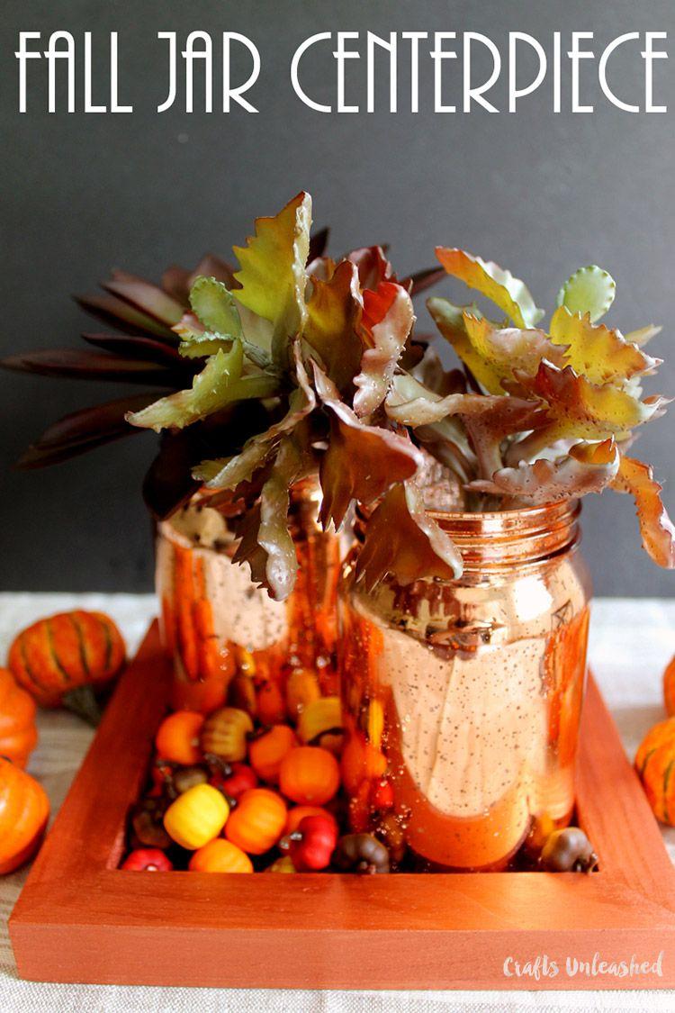 Fall mason jar centerpiece idea consumer crafts fall mason jars