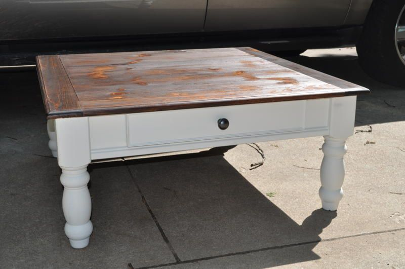 Painted Distressed Coffee Tables The Paisley Table White Stained Top
