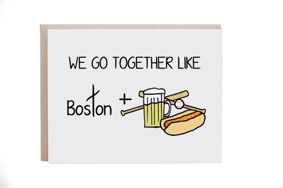 Boston, Massachusetts, honkbal, kaart, kaart van de liefde, voor man, vrouw, vriend, vriendin